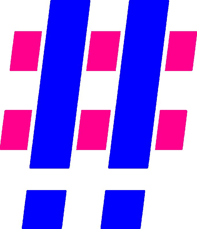 Hashtag Blue Pink 2x